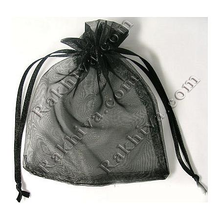 Organza bags black, 7 cm/ 9 cm, (7/9/8220)