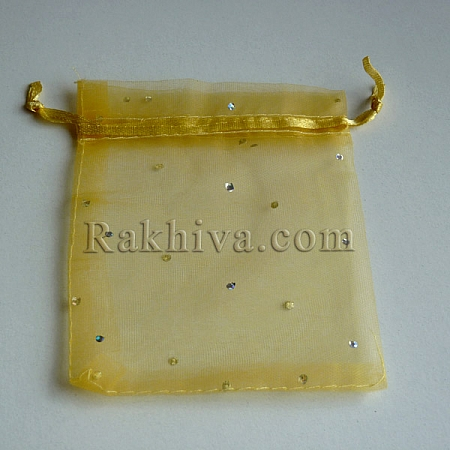 Organza bags gold with brocade, 10 cm/ 12 cm, (10/12/82200)