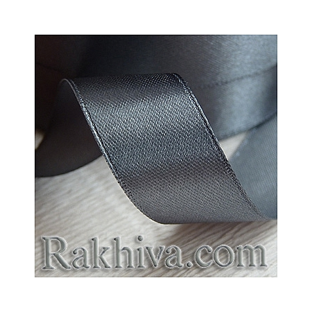 Satin ribbons - dark gray, 1 roll 6 mm/ 25 Y198/(6/25/2322)