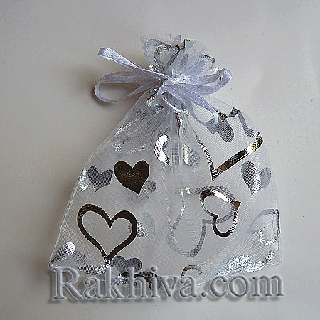 Organza bags white with silver heart, 10 cm/ 12 cm, (10/12/8210-1)
