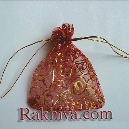 Organza bags red with gold, 10 cm/ 12 cm, (10/12/8280-1)