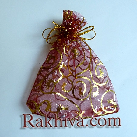 Organza bags burgundy with gold, 10 cm/ 12 cm, (10/12/8286-1)