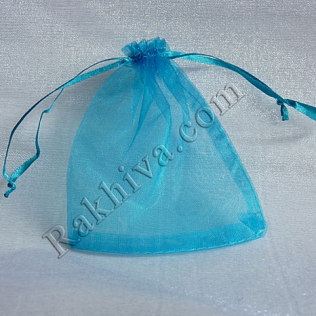 Organza bags turquoise, 10 cm/ 12 cm, (10/12/8257)