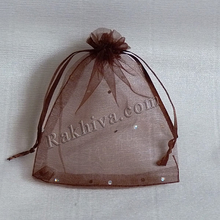 Organza bags brown with brocade, 10 cm/12 cm, (10/12/8234)