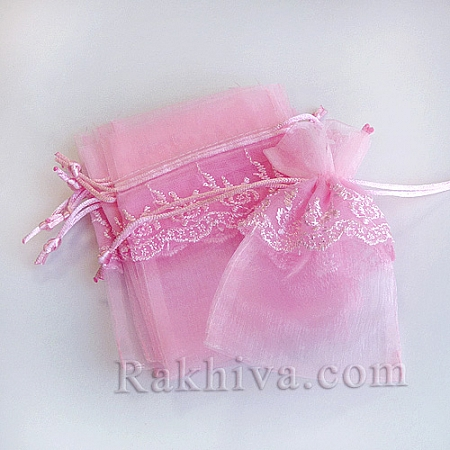 Organza bags with lace pink, 13.6 cm / 9.2cm, (13.6/9.2/8240)