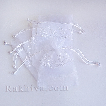 Organza bags with lace white, 13.6 cm/ 9.2 cm, (13.6/9.2/8210)