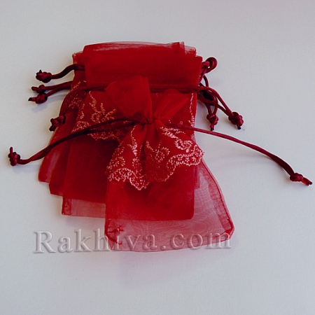 Organza bags with lace burgundy, 13.6 cm/ 9.2 cm (13.6/9.2/8286)