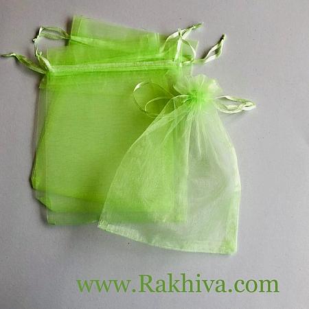 Organza bags lime green, 12 cm/ 17 cm, (12/17/8263)