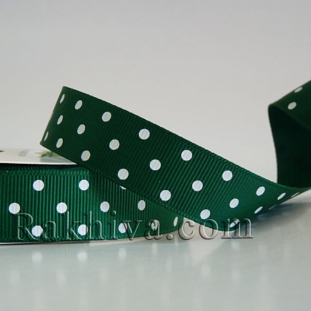Polka dot grosgrain ribbon, green + white (10 mm/ 10m) (10/10/206/587)