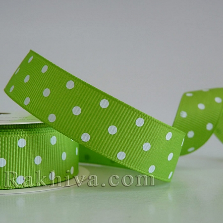 Polka dot grosgrain ribbon, lime grean+ white (10 mm/ 10m) (10/10/206/550)