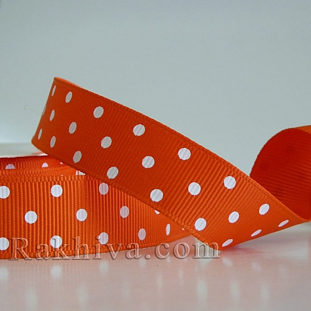 Polka dot grosgrain ribbon, orange + white (10 mm/ 10m) (10/10/207/750)
