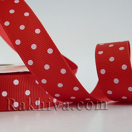 Polka Dot Grosgrain Ribbon, red (10 mm/ 10m)(10/10/208/235)