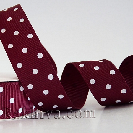Polka dot grosgrain ribbon, wine (10 mm/ 10 m) (10/10/208/275)