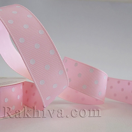 Polka dot grosgrain ribbon, pink + white (10 mm/ 25 y ) (10/10/204/123 )