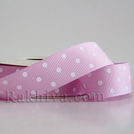 Polka dot grosgrain ribbon, pink + white (19 mm/ 10m) (20/10/204/148)