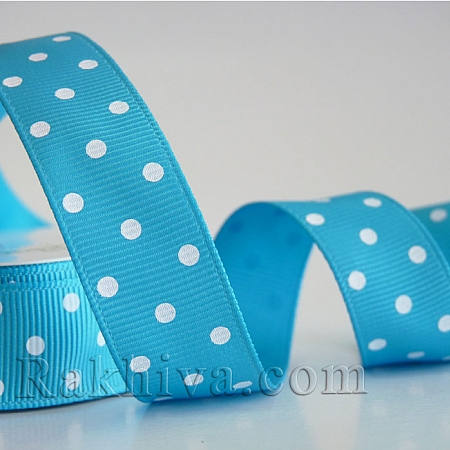 Polka dot grosgrain ribbon, turquoise + white (10 mm/ 10m)  (10/10/205/340/029 )