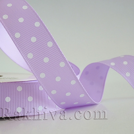 Polka dot grosgrain ribbon, lilac + white (10 mm/ 10m) (10/10/209/430/029)