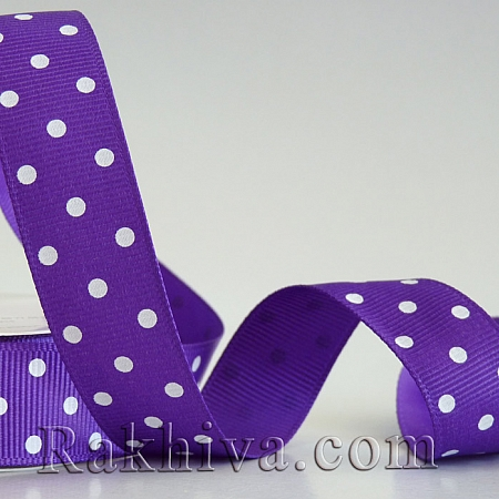 Polka dot grosgrain ribbon, purple + white (10 mm/ 10m) (10/10/209/465)