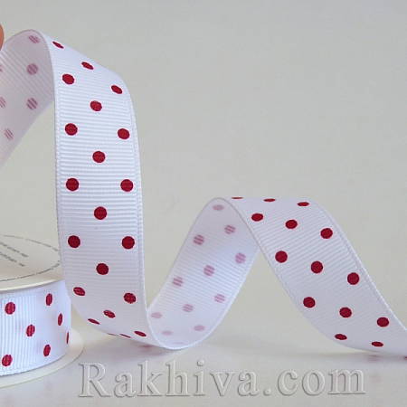Polka dot grosgrain ribbon, white + red (10 mm/ 10m)(10/10/201/029/250)