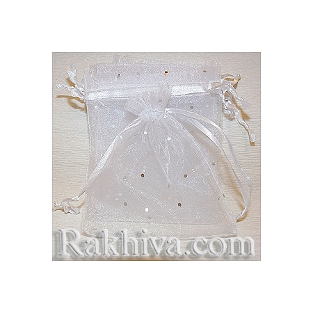 Organza bags white with brocade, 18 cm/ 25 cm, (18/25/8210)