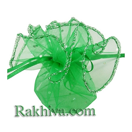 Organza bags circle green with siver brocade, 26 cm, (26/8265)