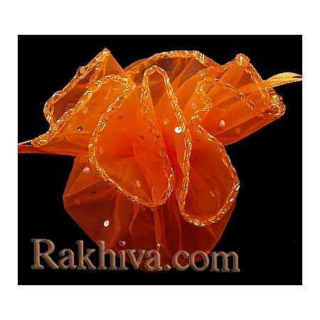Organza bags circle orange with siver brocade, 26 cm, (26/8275)