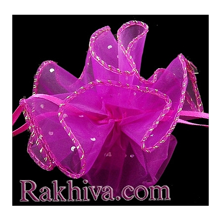 Organza bags circle hot pink with siver brocade, 26 cm, (26/8245)