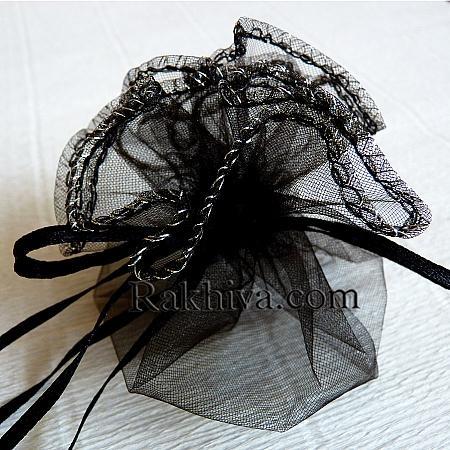 Organza bags circle black, 26 cm, (26/8220)