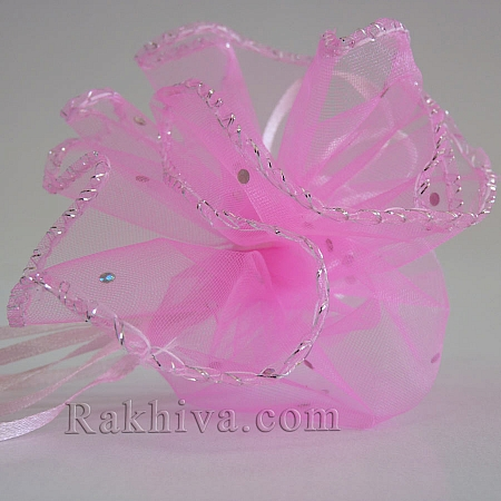 Organza bags circle pink with siver brocade, 26 cm, (26/8240)