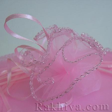 Organza bags circle pink, 26 cm, (26/8440)