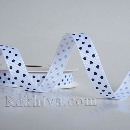 Polka dot grosgrain ribbon,  white + black (10 mm/ 10 m) (10/10/201/029/030)