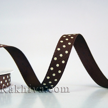 Polka dot grosgrain ribbon, brown + ecru (10 mm/ 10m)  (10/10/203/868/815)