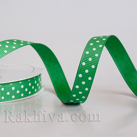 Polka dot grosgrain ribbon, 1 green + white (10 mm/ 10m)(10/10/206/580)