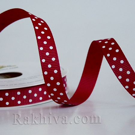 Polka Dot Grosgrain Ribbon, dk. red (10 mm/ 10m) (10/10/208/260/029)