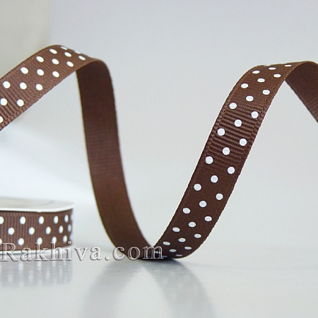 Polka dot grosgrain ribbon, brown + white (10 mm/ 10m)  (10/10/203/850/029)