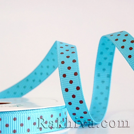 Polka dot grosgrain ribbon, turquoise + brown (10 mm/ 10m) (10/10/205/340/868)