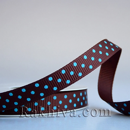 Polka dot grosgrain ribbon, brown + blue (10 mm/ 10m) (10/10/203/868/340)