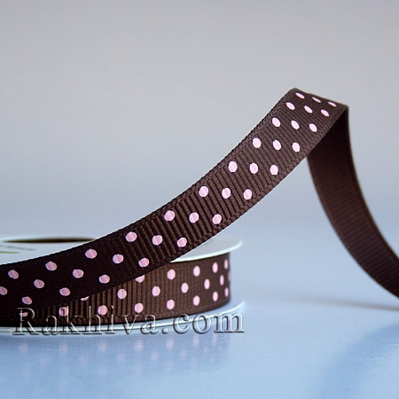 Polka dot grosgrain ribbon, brown +  pink (10 mm/ 10m) (10/10/203/850/150)