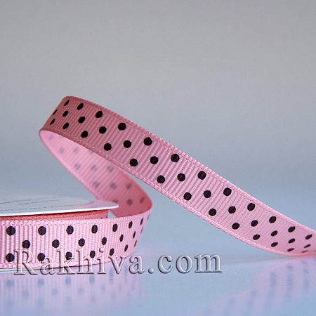 Polka dot grosgrain ribbon,  pink + brown (10 mm/ 10m) (10/10/204/150/850)