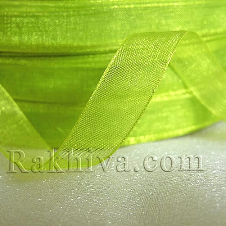 Organza ribbons Lime electric, 1 roll lame green (6mm / 20 m) (6/20/2264-1)