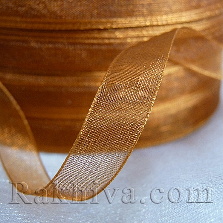 Organza ribbons brown, brown (1 cm/ 50Y) (10/50/2236)