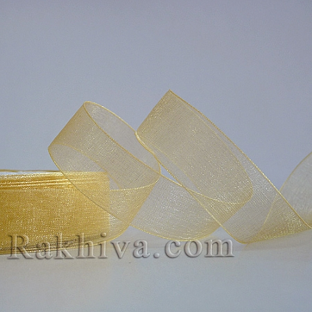 Organza ribbons lt.gold, 1 roll  (6mm/ 20 m) (6/20/22202)
