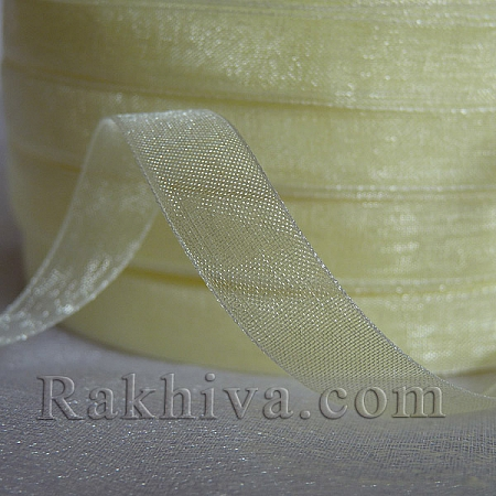 Organza ribbons, 1 roll ivory (10mm / 50Y) (10/50/2213)