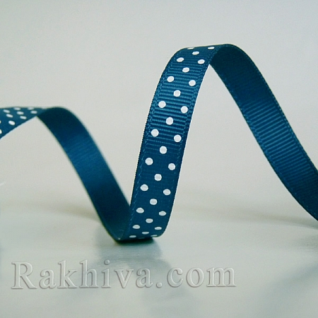 Polka dot grosgrain ribbon, dark blue + white (10 mm/ 10m) (10/10/205/365/029)