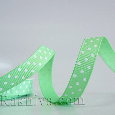 Polka dot grosgrain ribbon, mint + white (10 mm/ 10m) (10/10/206/530)