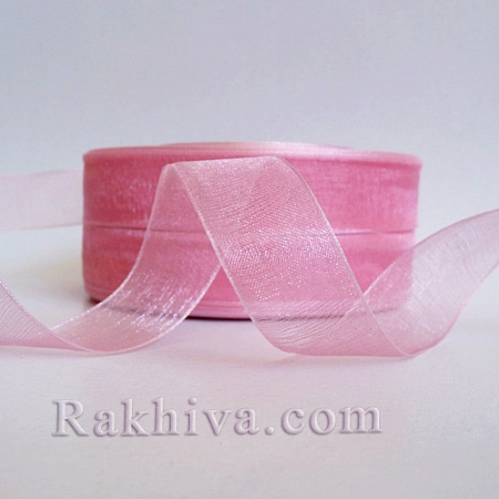 Organza ribbons pink, 1 roll (1 cm/ 500Y) pink (10/50/2243-1)