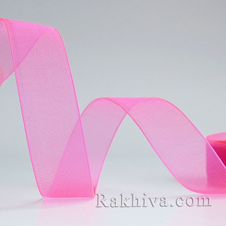 Organza ribbons pink electrician, 1 roll (6mm/ 20m)  (6/20/2247)