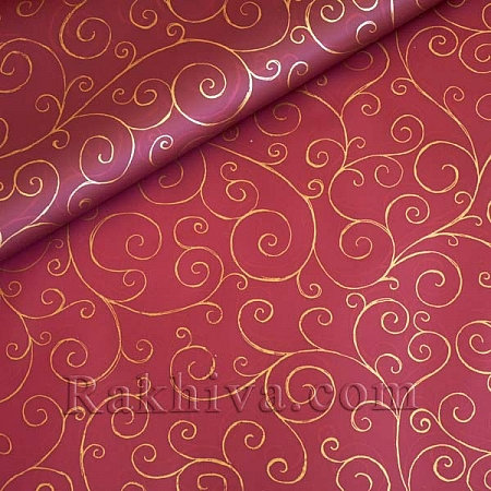 OPP wrapping paper (bicoloured), burgundy/ gold (70/100/17186-200)