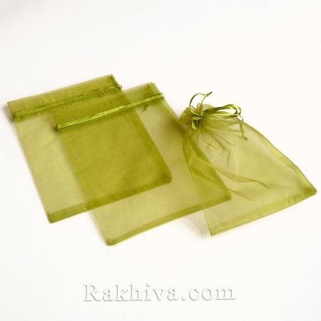 Organza bags green, 10 cm/ 12 cm, (10/12/8264)