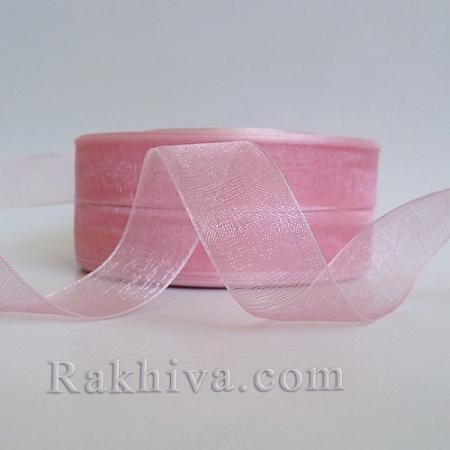 Organza ribbons, 1 roll (1 cm/ 50Y) pink (10/50/2243)